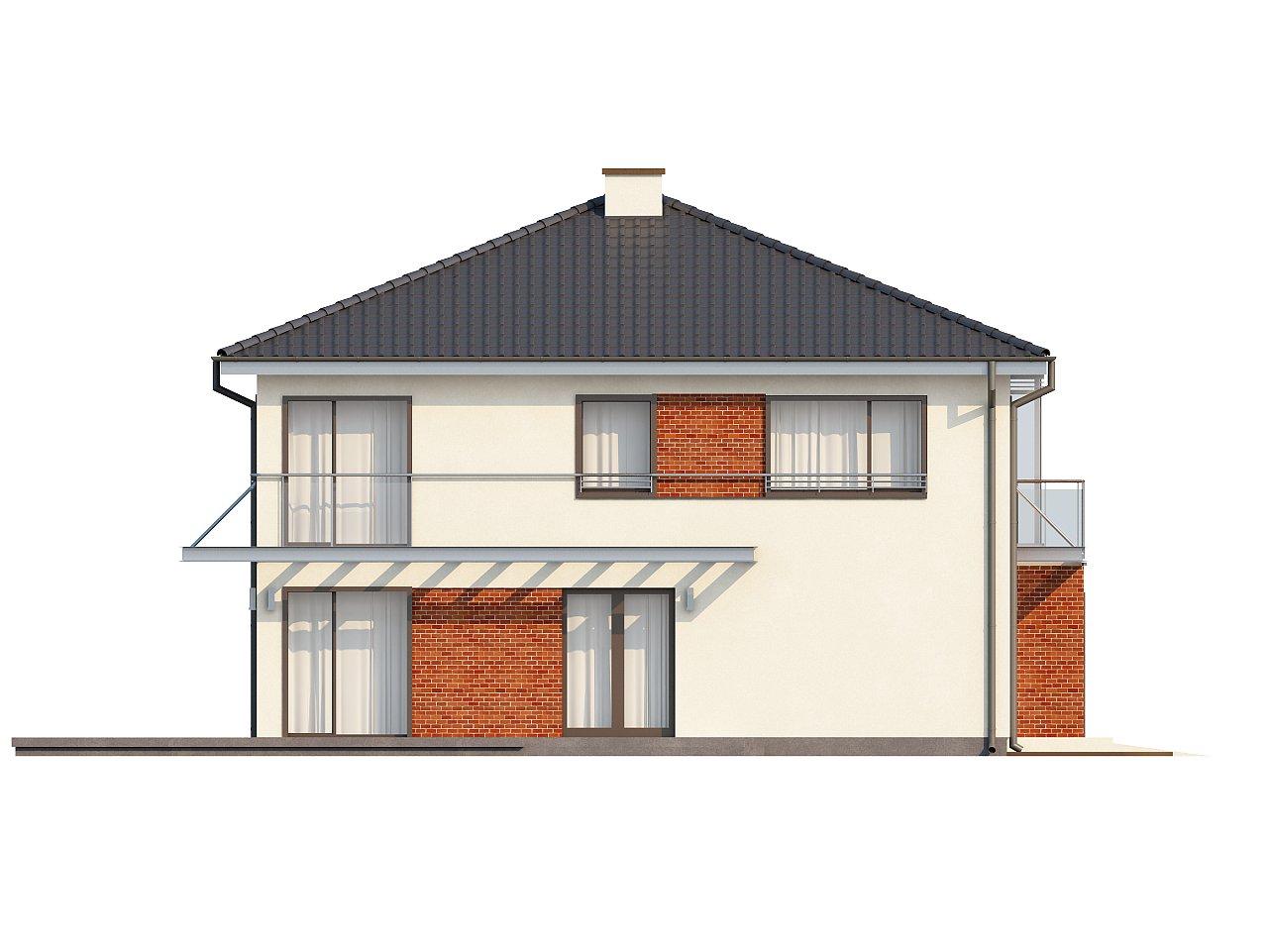 Комфортабельный двухэтажный дом простой формы со стеклянным эркером над гаражом. - фото 4