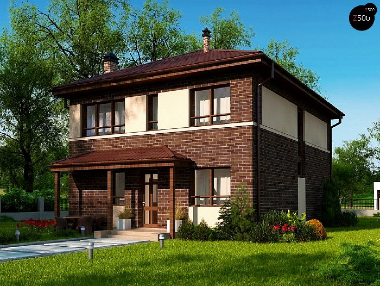 Вариант двухэтажного дома Zx24a с плитами перекрытия 1