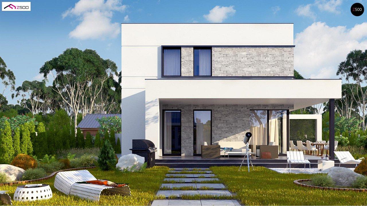 Простой аккуратный проект двухэтажного дома с плоской кровлей 5