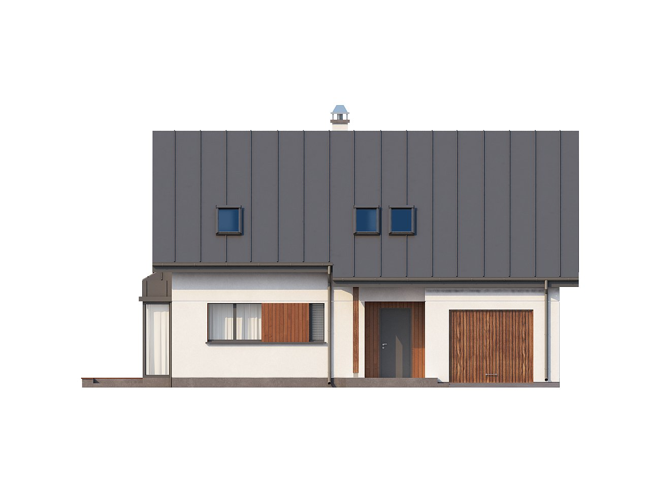 Практичный дом с мансардой, гаражом, кабинетом на первом этаже и стильным эркером. 3