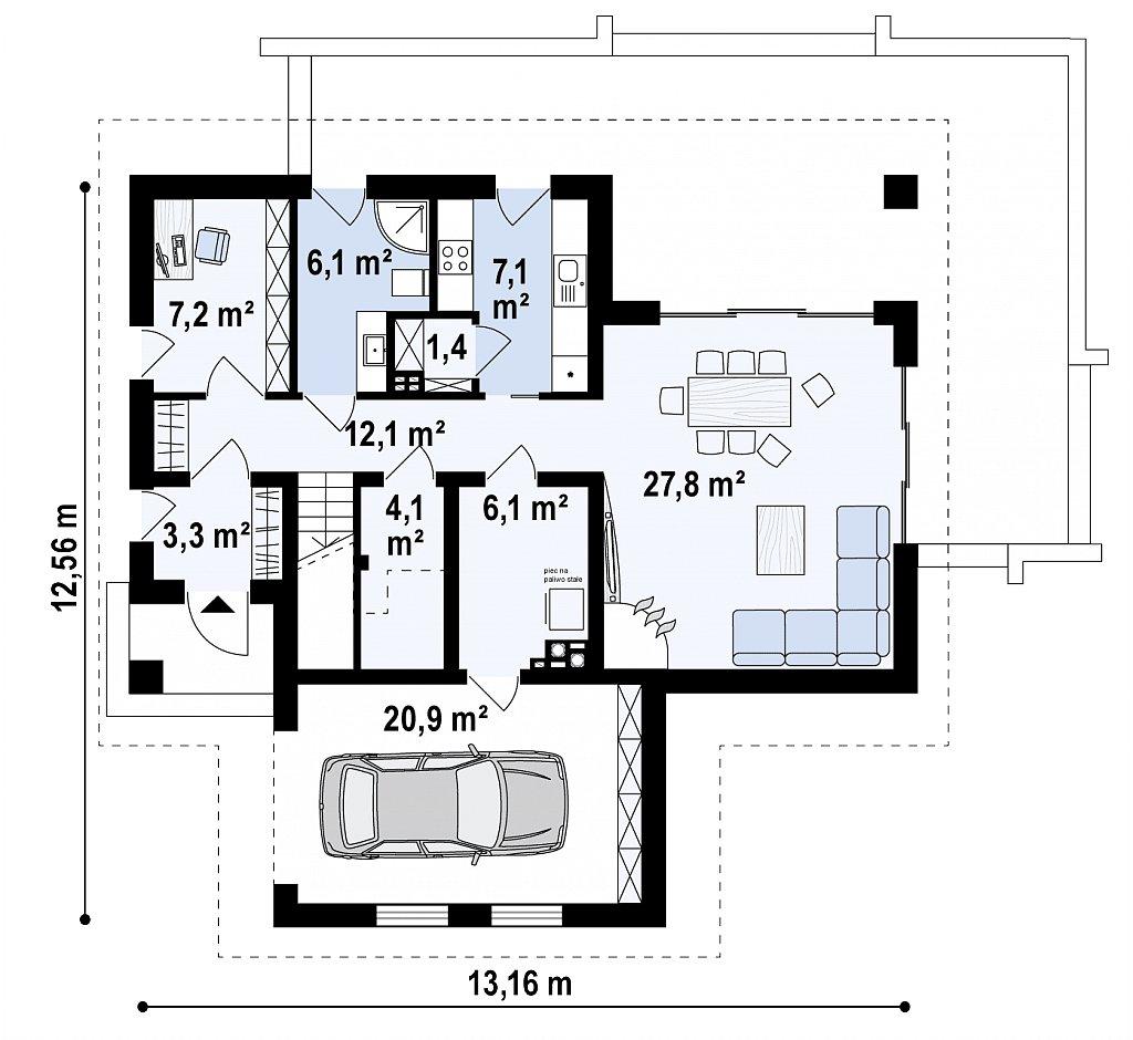 Современный жилой дом с гаражом план помещений 1