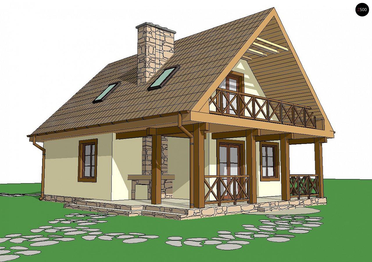 Проект компактного дома с мансардой с двускатной крышей - фото 2