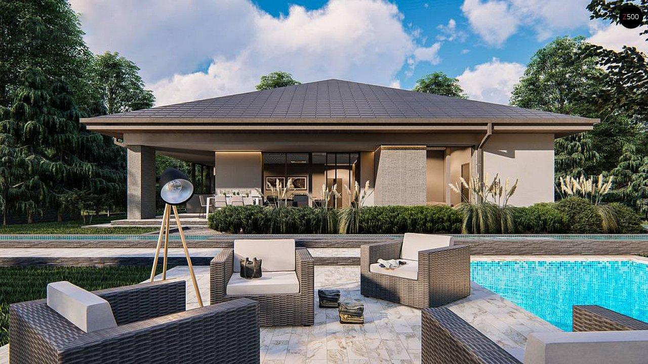 Современный одноэтажный проект дома с многоскатной крышей и гаражом на две машины - фото 5