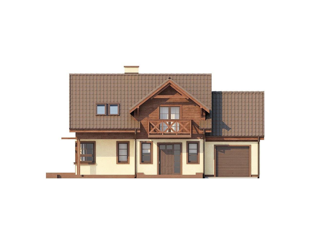Практичный дом с гаражом, с красивым мансардным окном и боковой террасой. 3