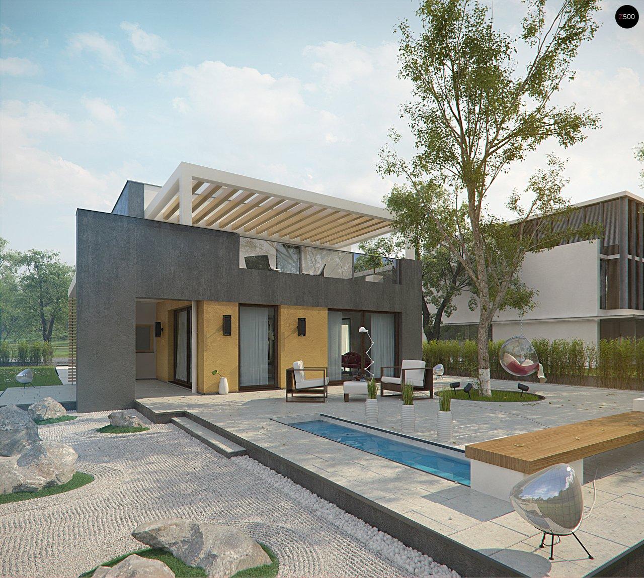 Дом характерного современного дизайна с гаражом и кабинетом на первом этаже. - фото 4