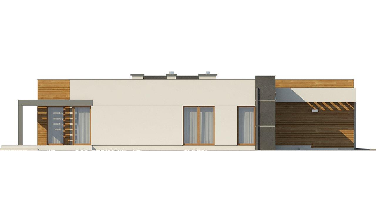 Одноэтажный дом модернистского характера с гаражом для двух автомобилей. 25