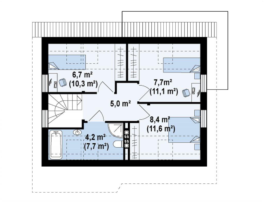 Проект каркасного мансардного дома в классическом дизайне план помещений 2