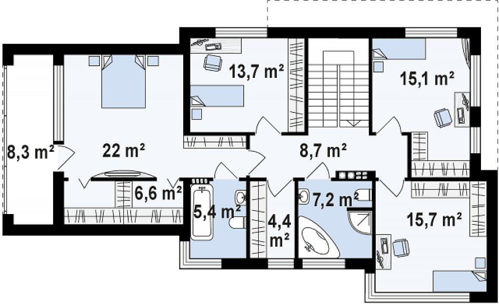 Добротный особняк модернистского характера с большой площадью остекления. план помещений 2