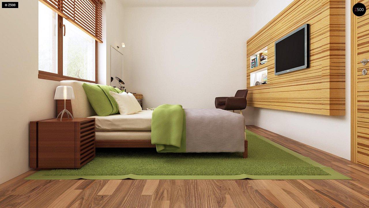 Проект одноэтажного практичного и уютного дома с крытой террасой. 11