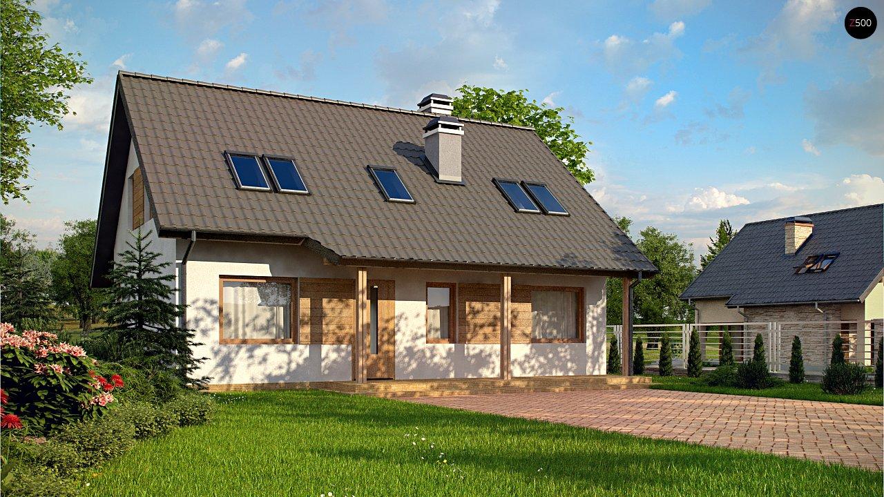 Дом с мансардой с двускатной крышей и комнатой на первом этаже 1