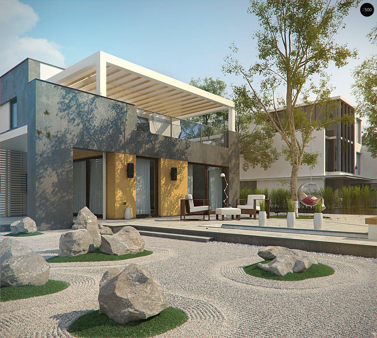 Дом характерного современного дизайна с гаражом и кабинетом на первом этаже. - фото 7