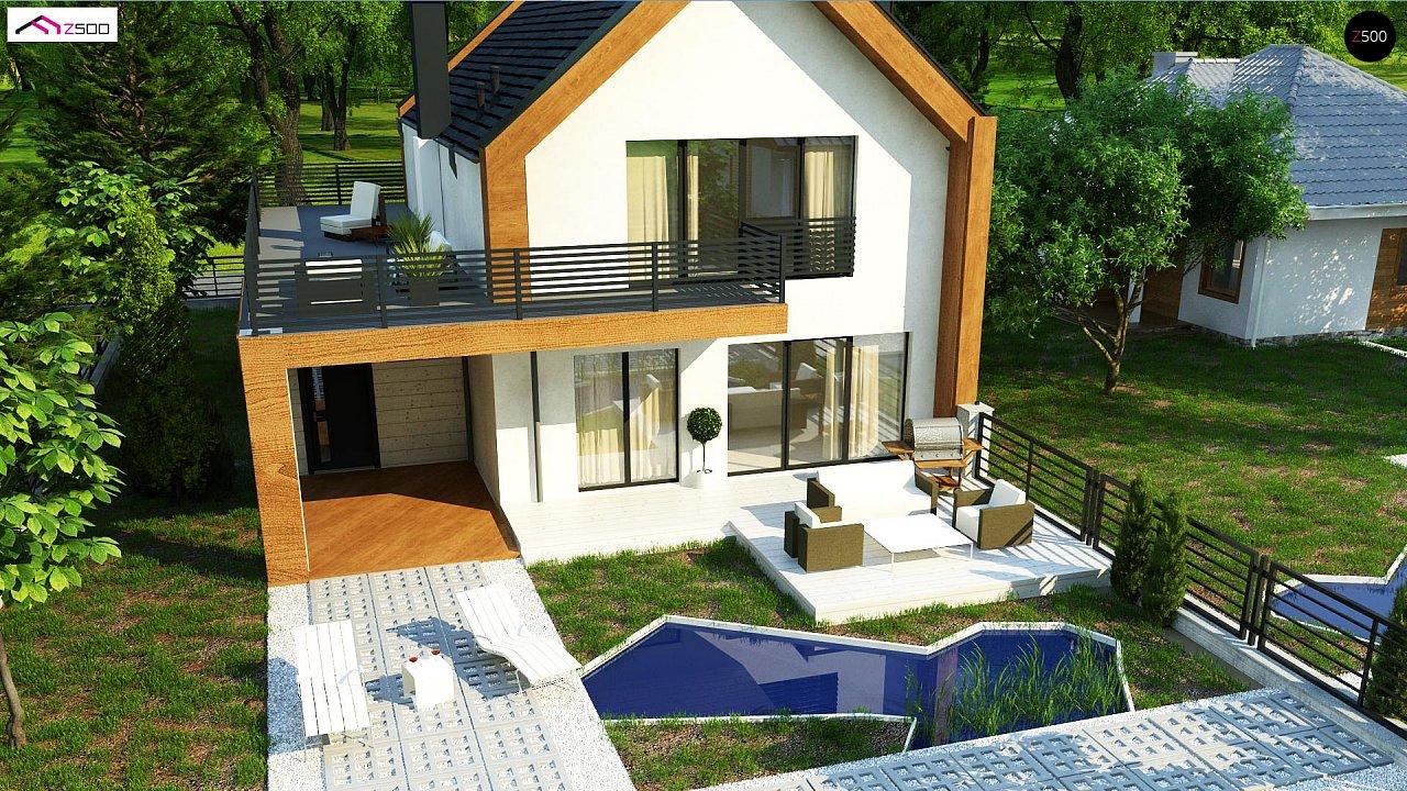 Современный дом с двускатной крышей и гаражом для одного пользователя 5