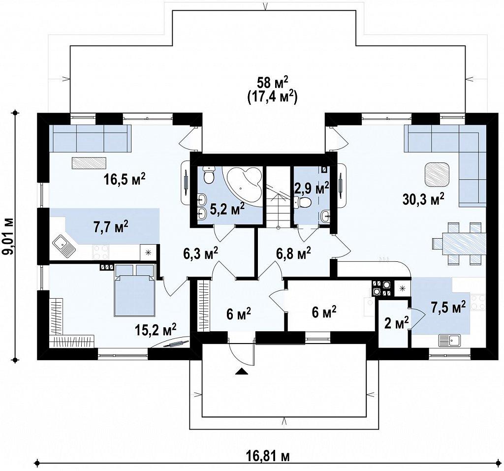 Практичный двухквартирный дом с общими входом и техническим помещением. план помещений 1