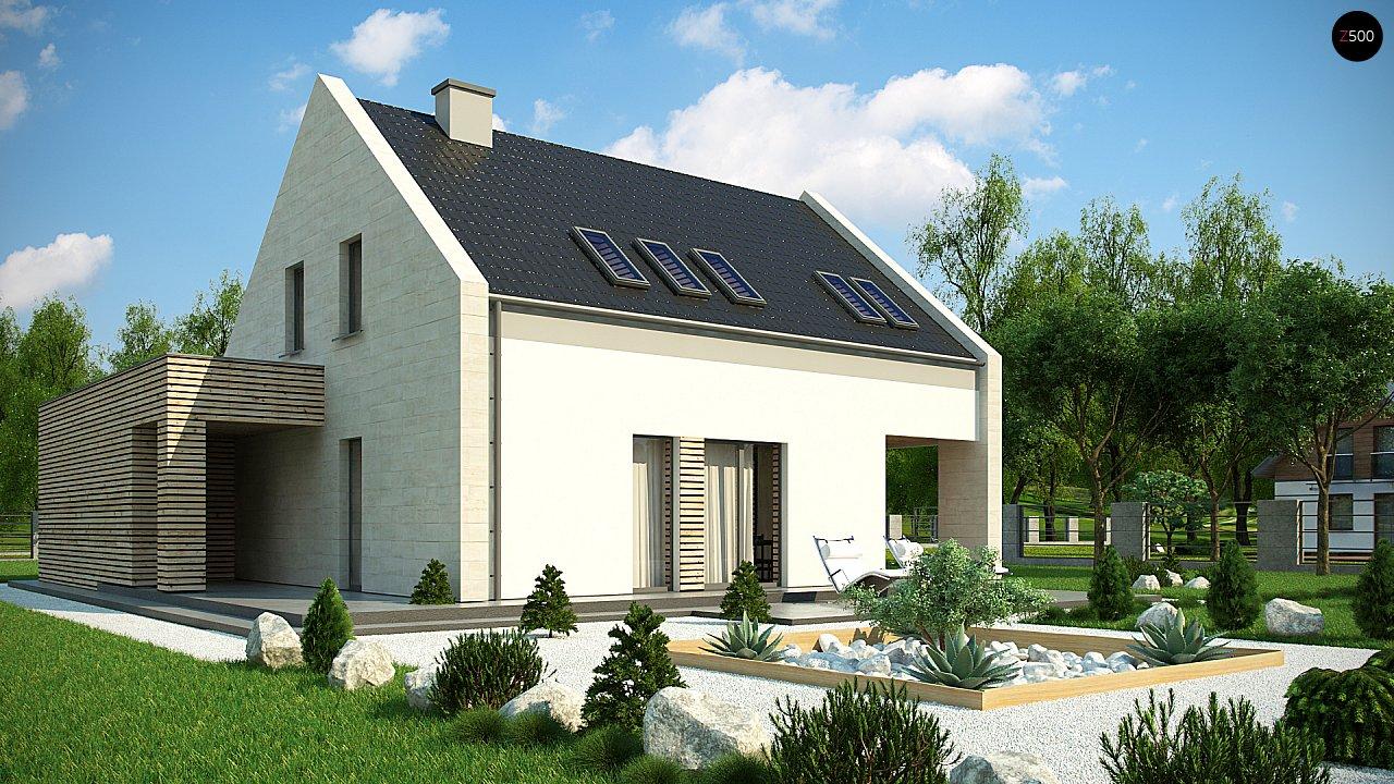 Проект дома с мансардой, террасой на первом этаже и гаражом на одну машину. - фото 2
