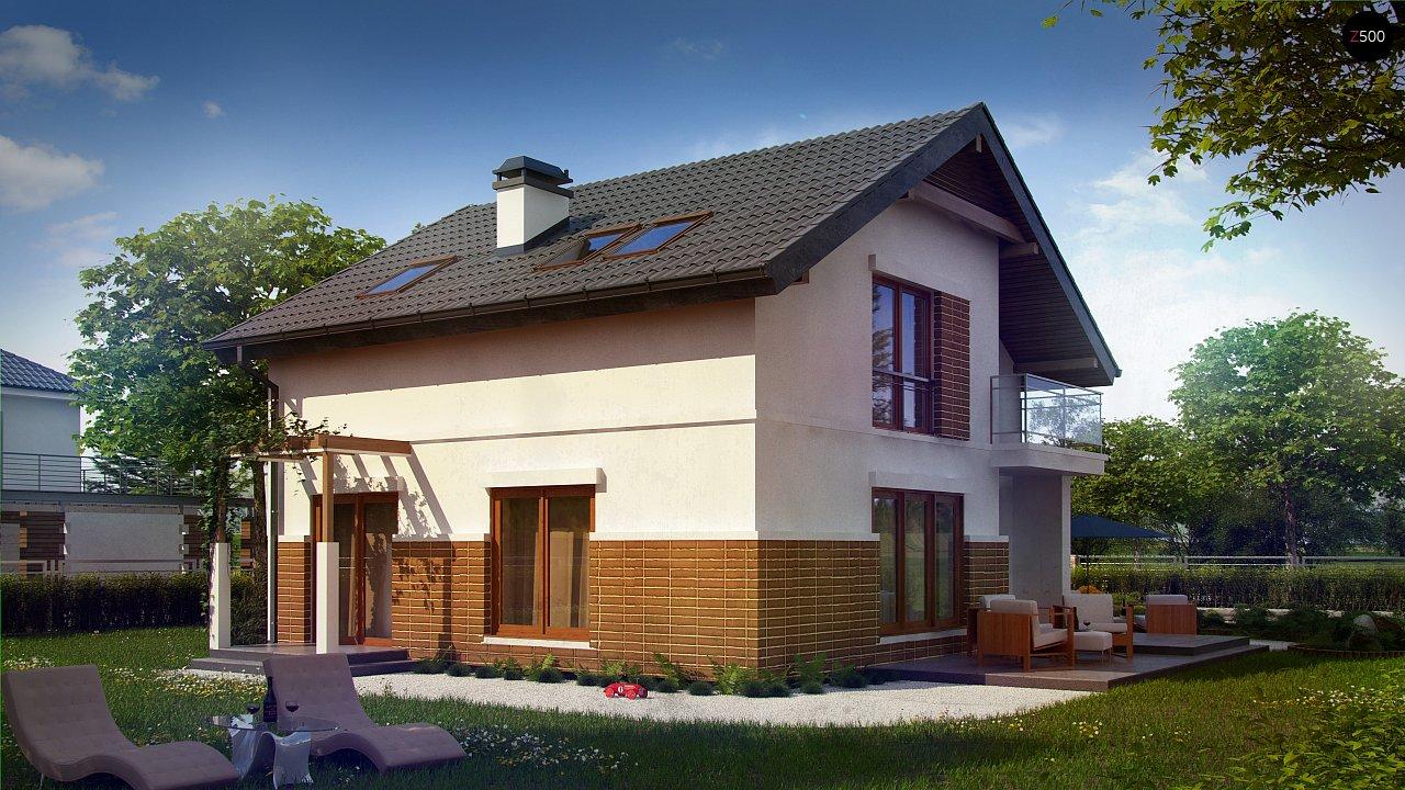 Проект дома с мансардой, с высокой аттиковой стеной, с дополнительной комнатой на первом этаже. 3