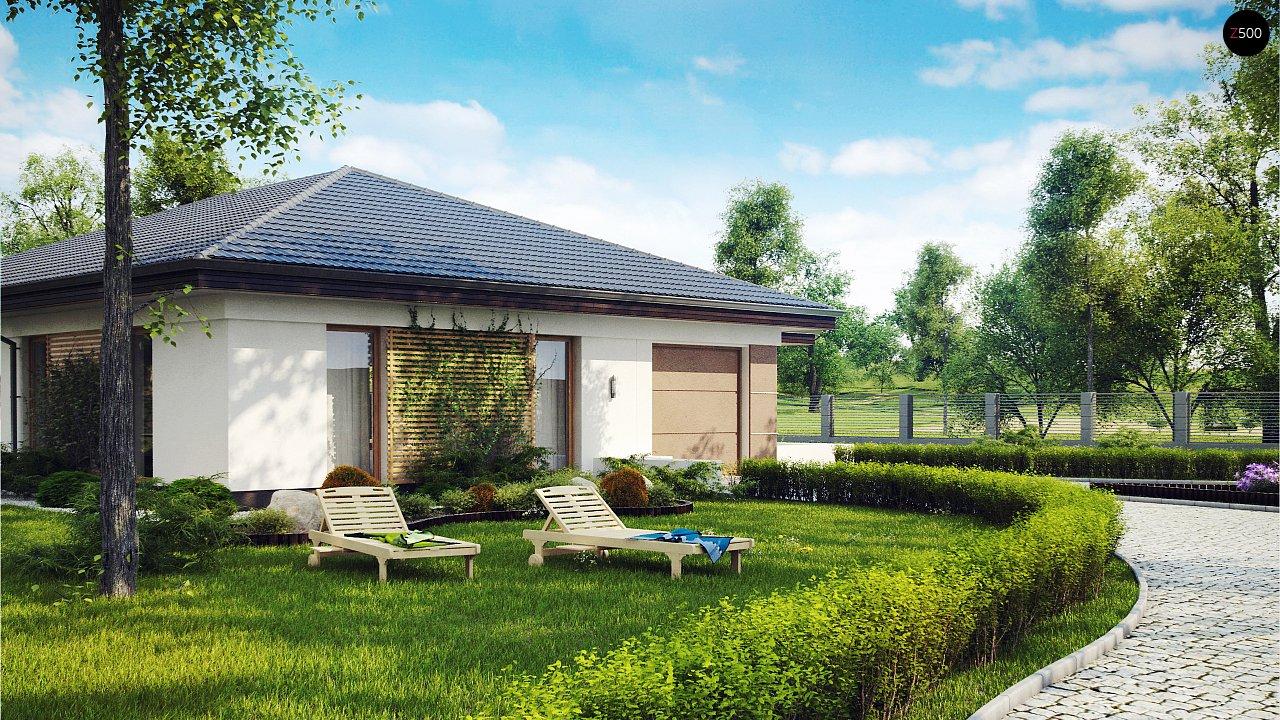 Проект одноэтажного дома с многоскатной крышей и гаражом на одну машину. - фото 2