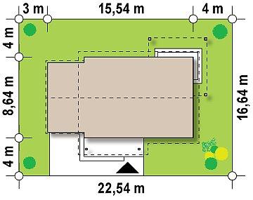 Небольшой одноэтажный дом с большой площадью остекления в гостиной. план помещений 1