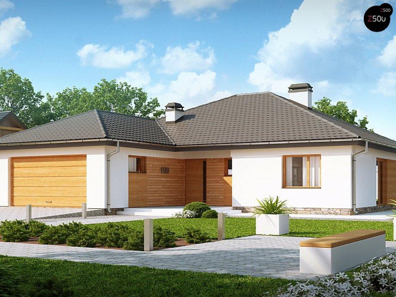 Версия одноэтажного дома Z199 с измененной планировкой 1