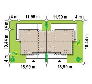 Простой и удобный дом для симметричной застройки с боковым гаражом. план помещений 1