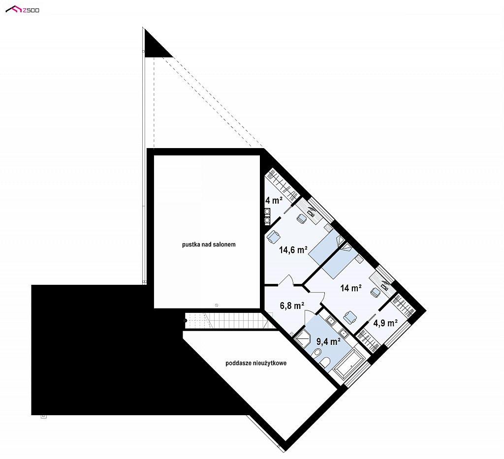 Проект современного дома с вторым светом, стильной кровлей и удобной планировкой. план помещений 2