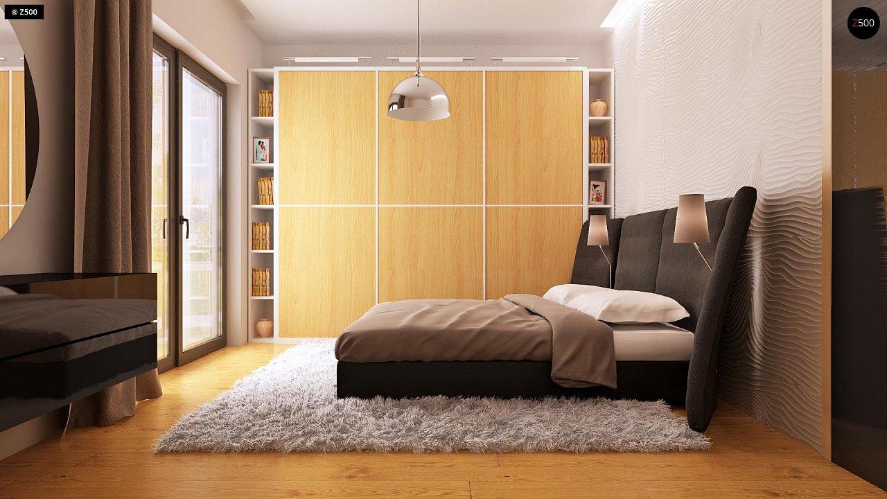 Одноэтажный дом модернистского характера с гаражом для двух автомобилей. 11