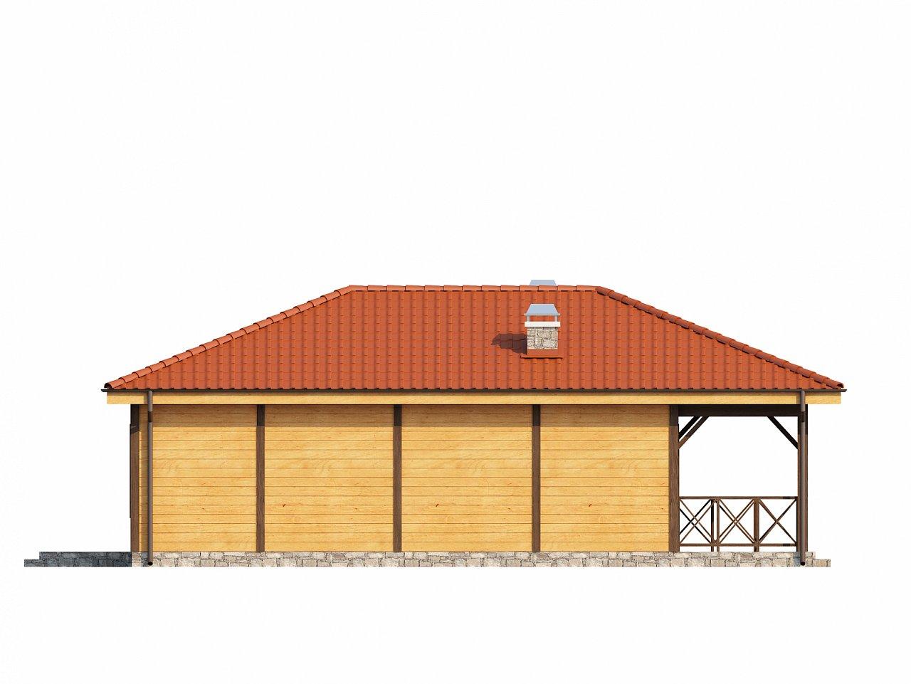 Аккуратный одноэтажный дом с деревянной облицовкой фасадов, адаптированный для каркасной технологии. 15