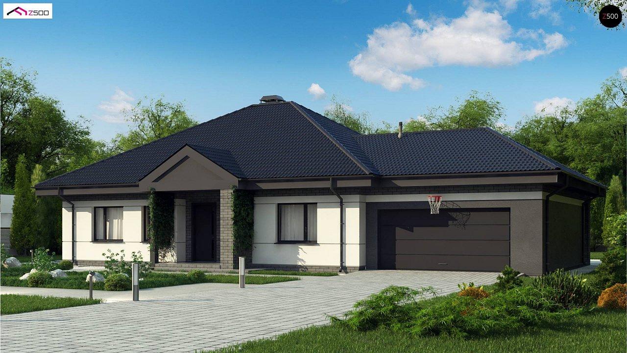 Проект одноэтажного дома с четырехскатной кровлей и гаражом на два автомобиля. 1