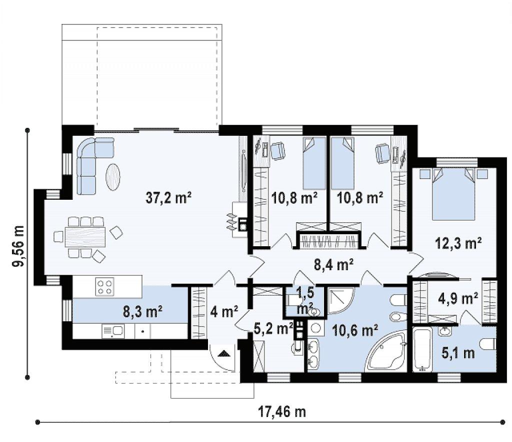 Одноэтажный комфортный дом в стиле хай-тек. план помещений 1
