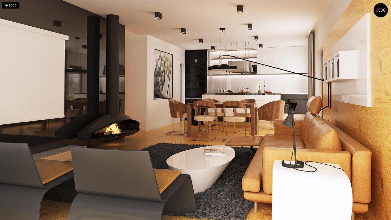 Одноэтажный дом модернистского характера с гаражом для двух автомобилей. 6