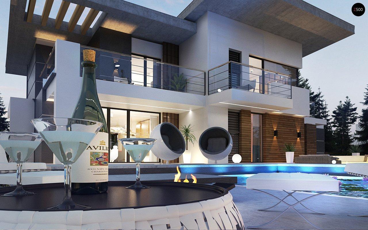 Современный двухэтажный дом с гаражом и террасой, спальней на первом этаже и ванной комнатой 9