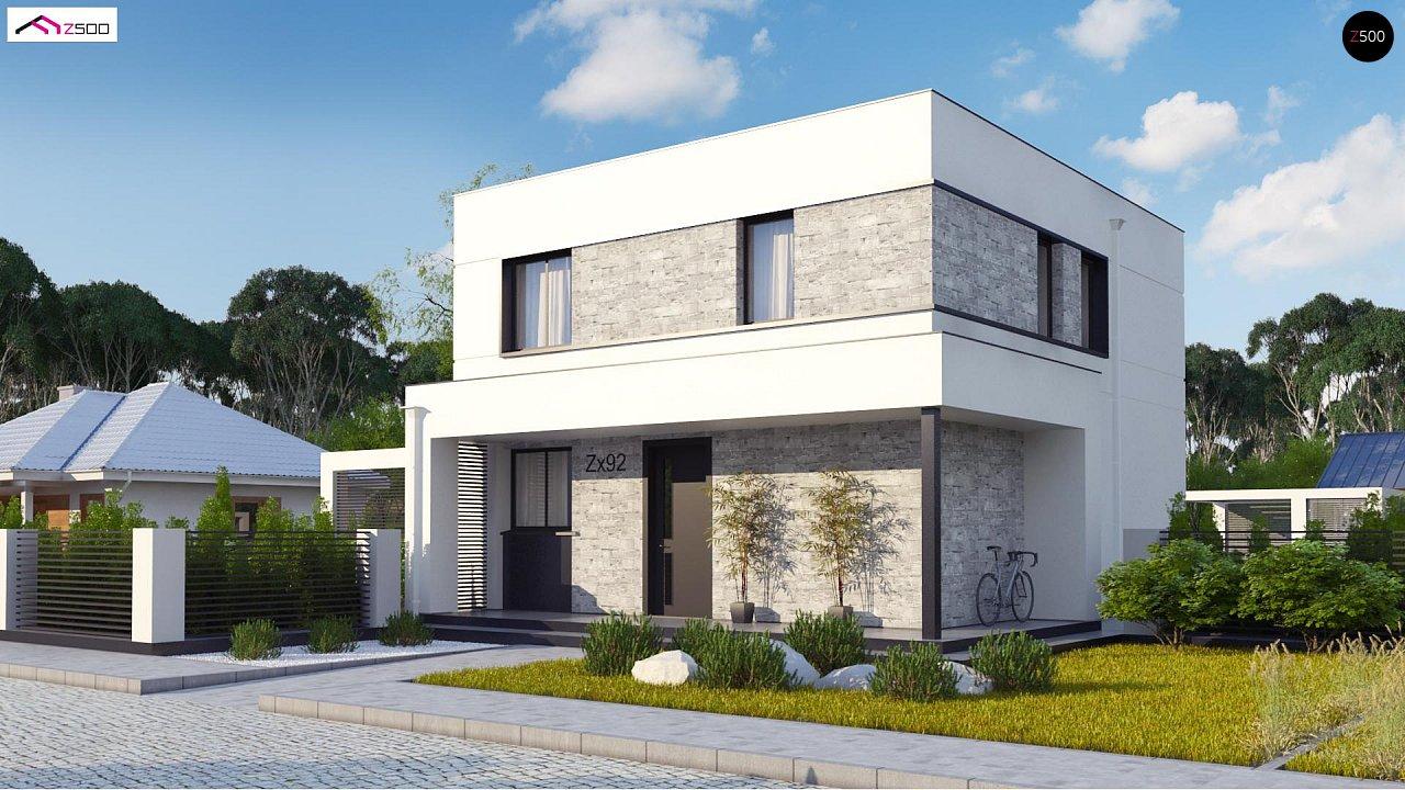 Простой аккуратный проект двухэтажного дома с плоской кровлей 1