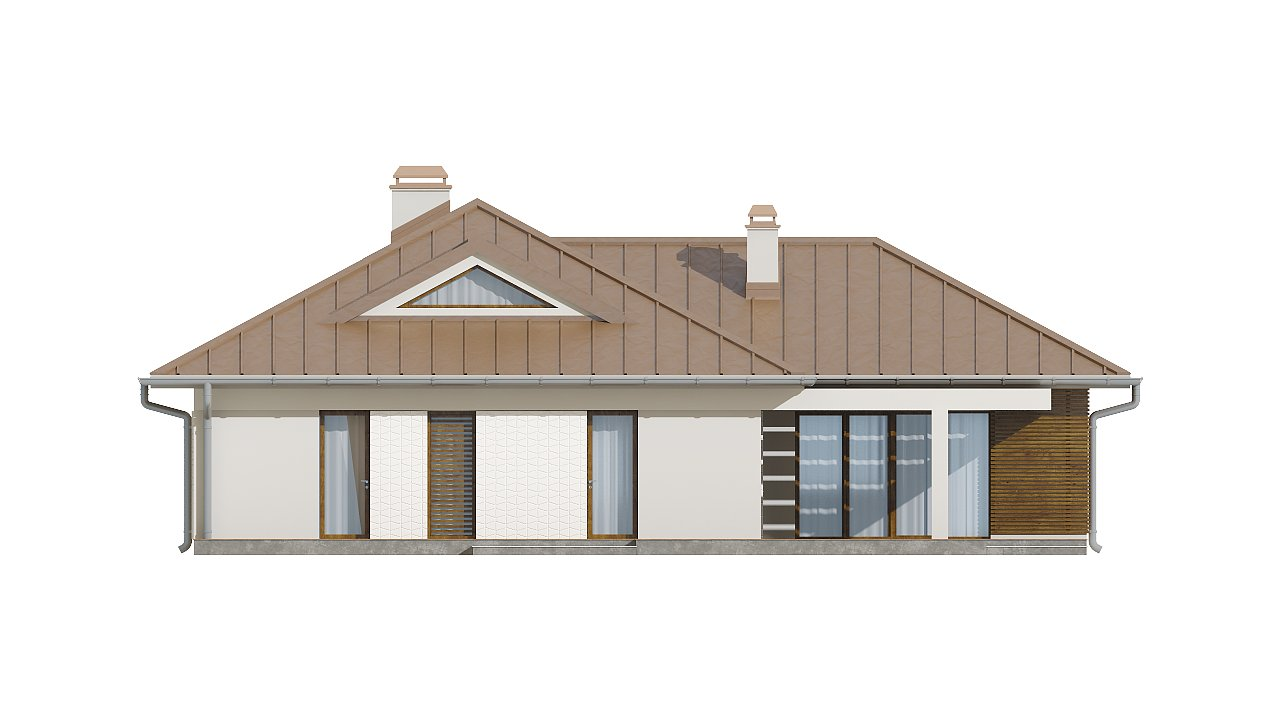 Проект удобного одноэтажного дома с большой угловой террасой. 6