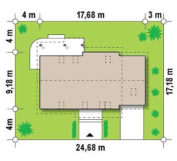 Проект просторного функционального дома с мансардой, гаражом для одной машины и дополнительной спальней на первом этаже. план помещений 1