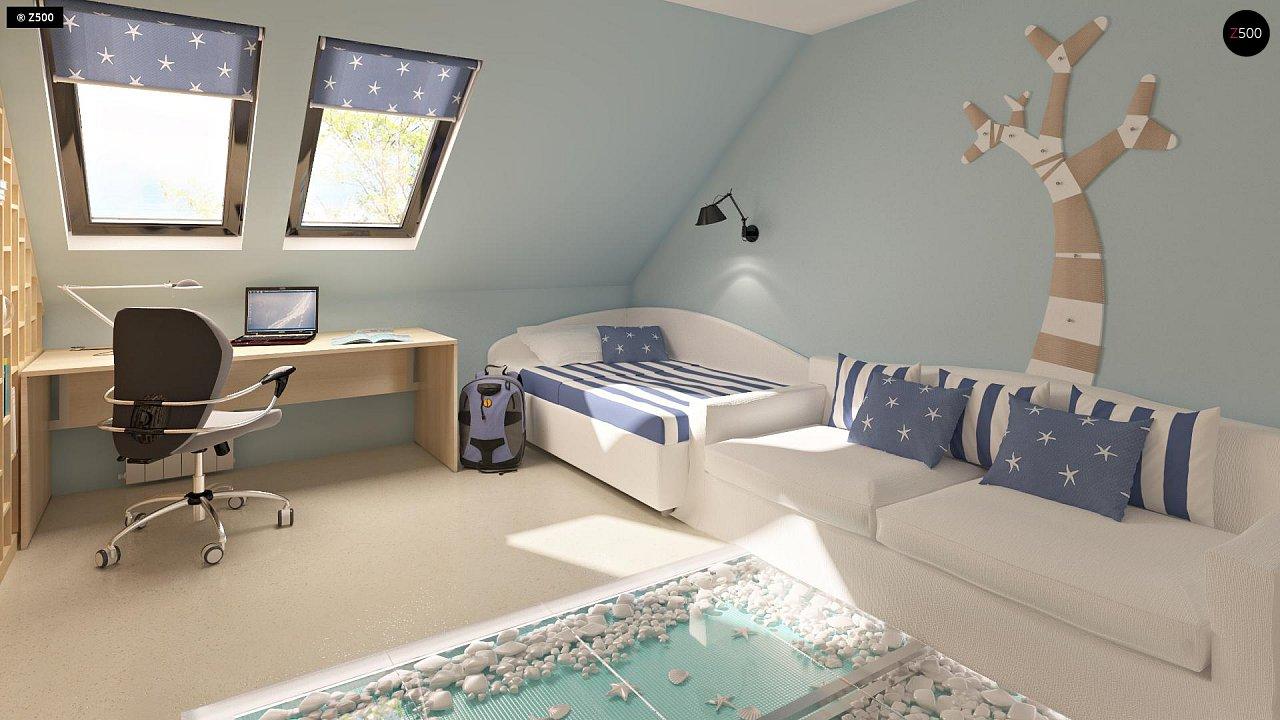 Проект функционального дома с эркером в столовой дополнительной спальней на первом этаже. 11