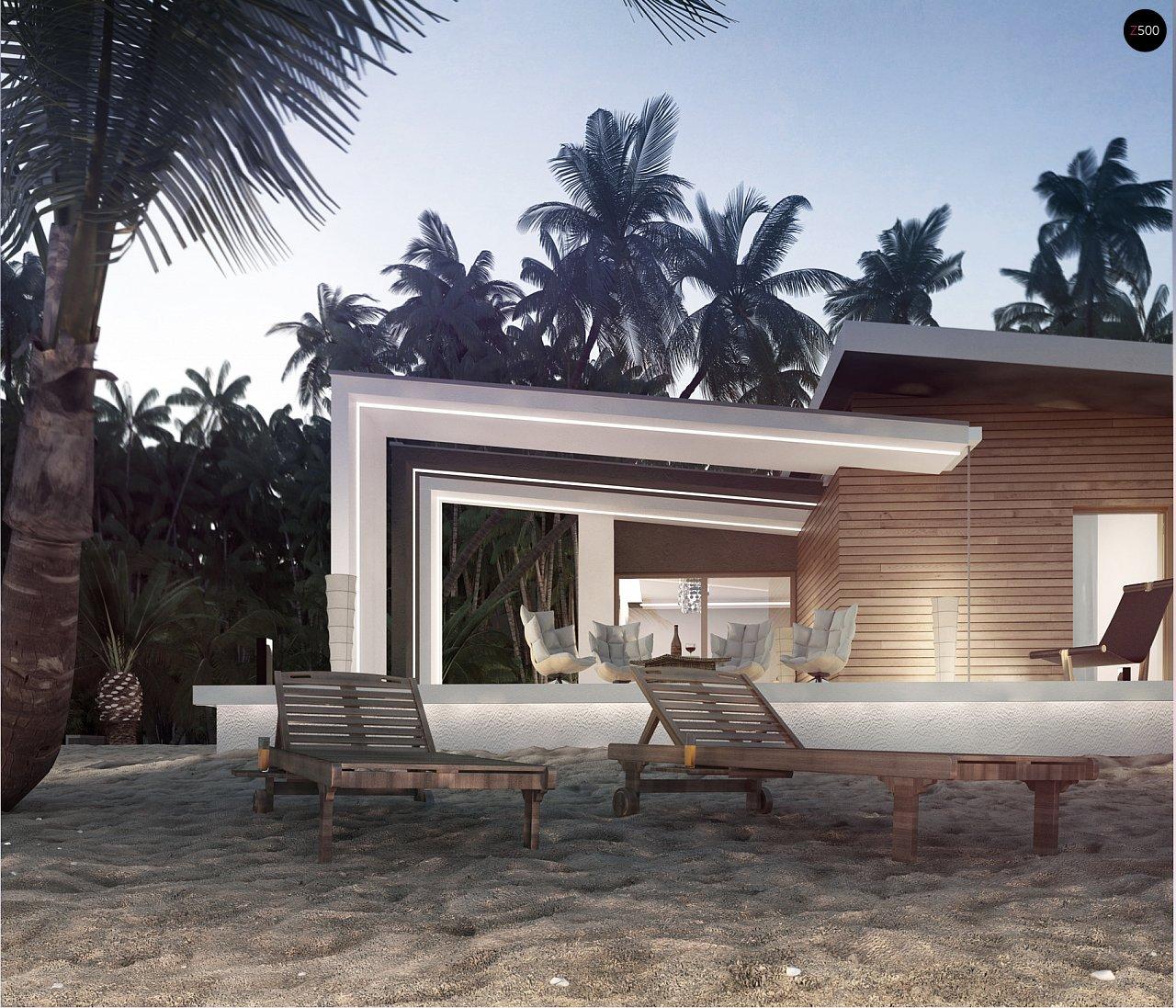 Проект современного дома в стиле хай-тек с двумя спальнями. - фото 3
