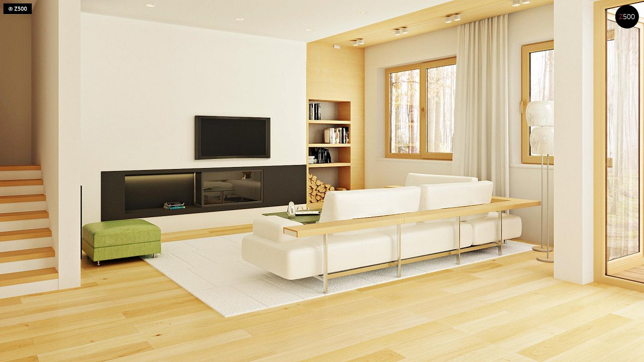 Двухэтажный дом, сочетающий традиционные формы и современный дизайн, с тремя спальнями и гаражом. 7