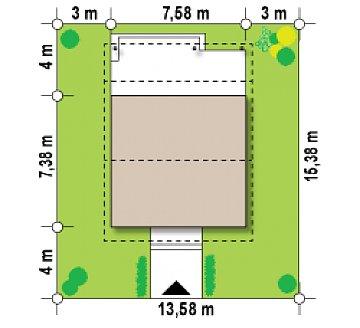 Выгодный в строительстве и эксплуатации маленький одноэтажный дом с крытой террасой. план помещений 1