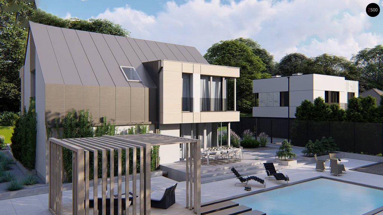 Cовременный проект дома с двускатной крышей и просторными большими мансардными окнами 5