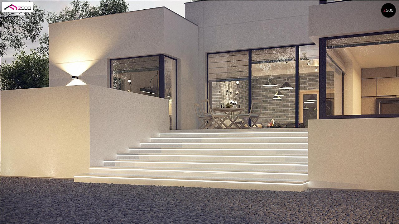 Современный проект с уникальным дизайном, оштукатуренным фасадом и гаражом 8