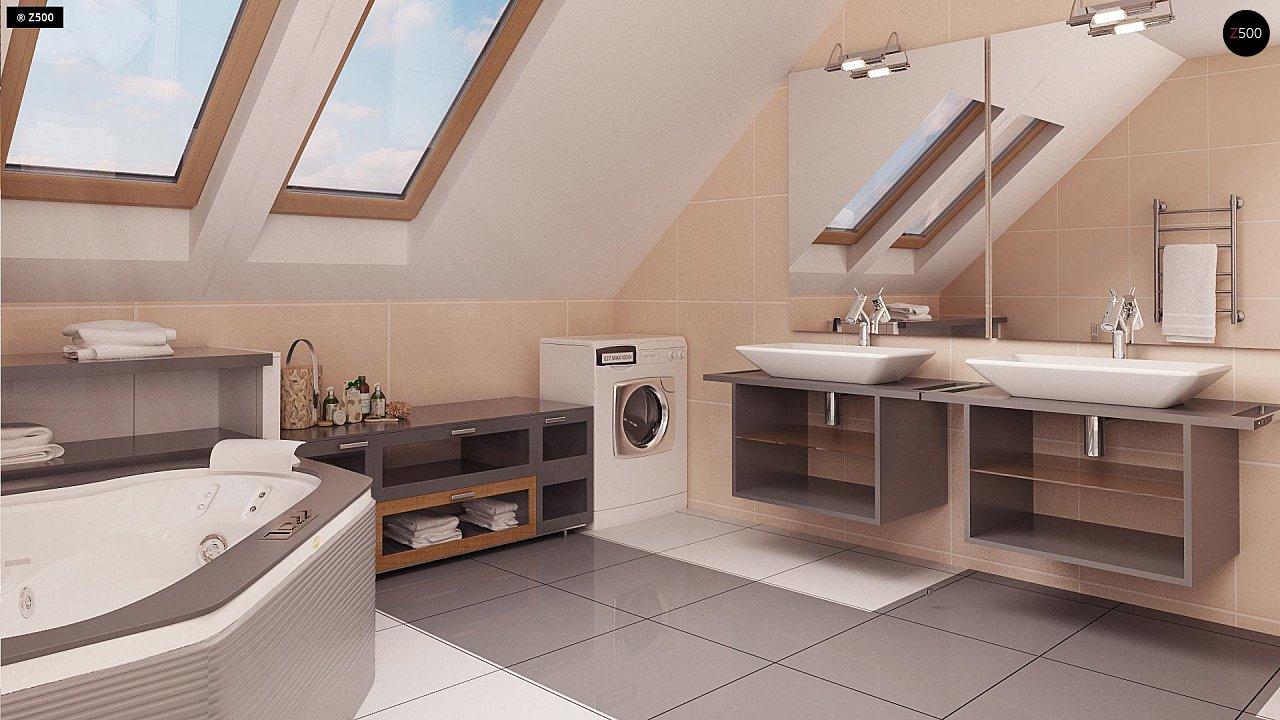 Проект функционального уютного дома с мансардными окнами и оригинальной отделкой фасадов. 14