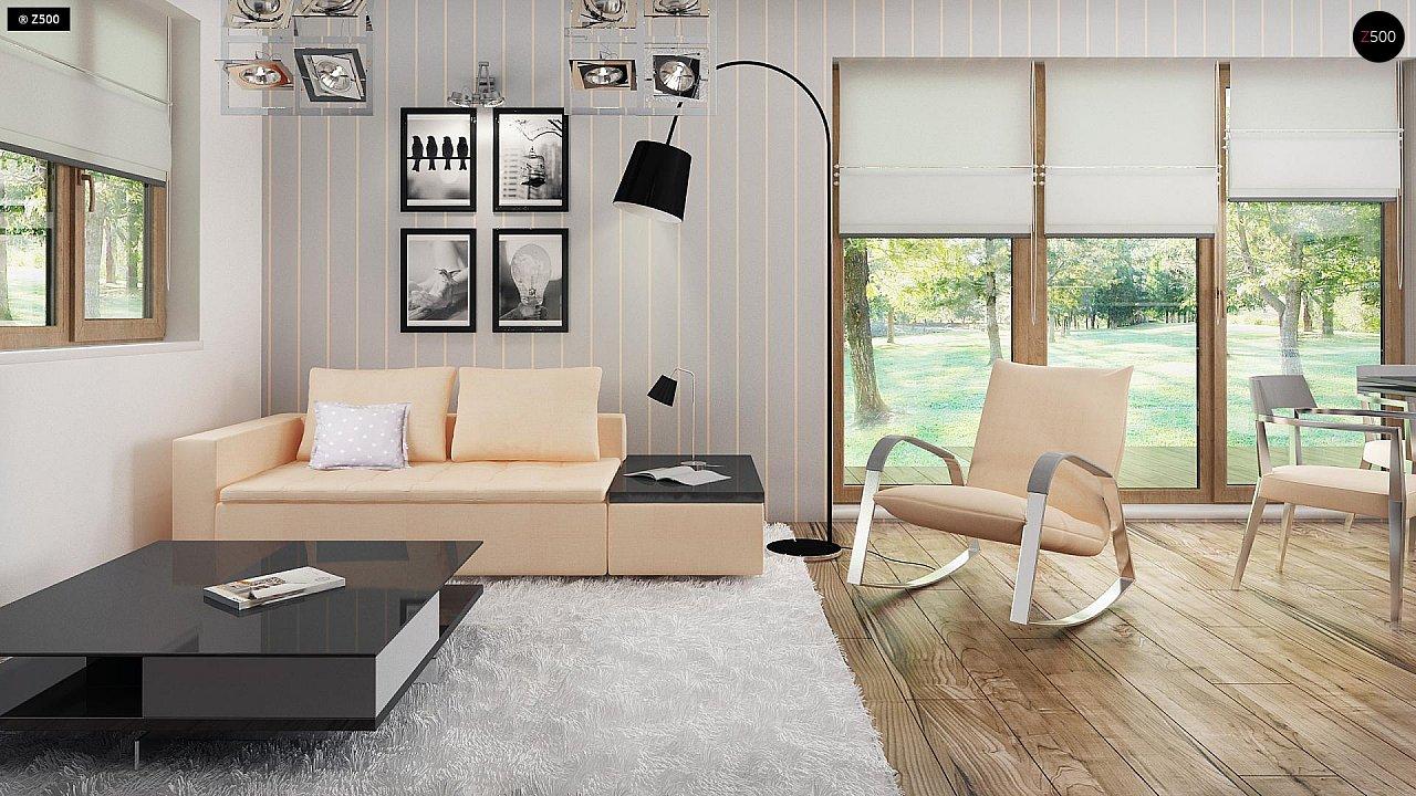 Проект функционального уютного дома с мансардными окнами и оригинальной отделкой фасадов. 6