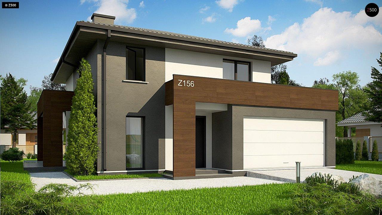 Уменьшенная версия проекта z156 с гаражем и стильным фасадом 1