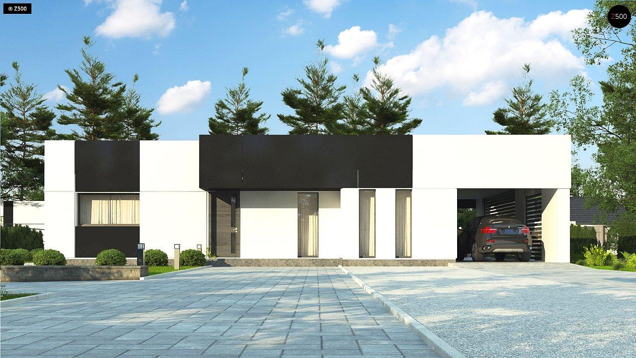 Проект современного одноэтажного дома с черно-белыми фасадами и открытым гаражом на 2 машины 3