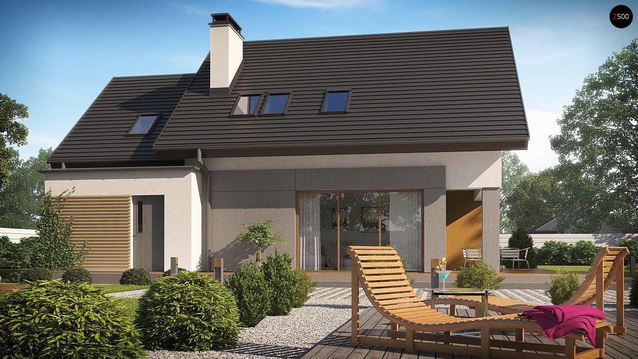 Проект аккуратного мансардного дома, с современным дизайном фасадов. 3