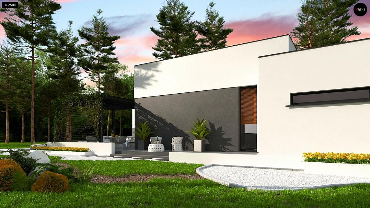 Одноэтажный дом с плоской кровлей адаптированный под строительство в сейсмических районах 6