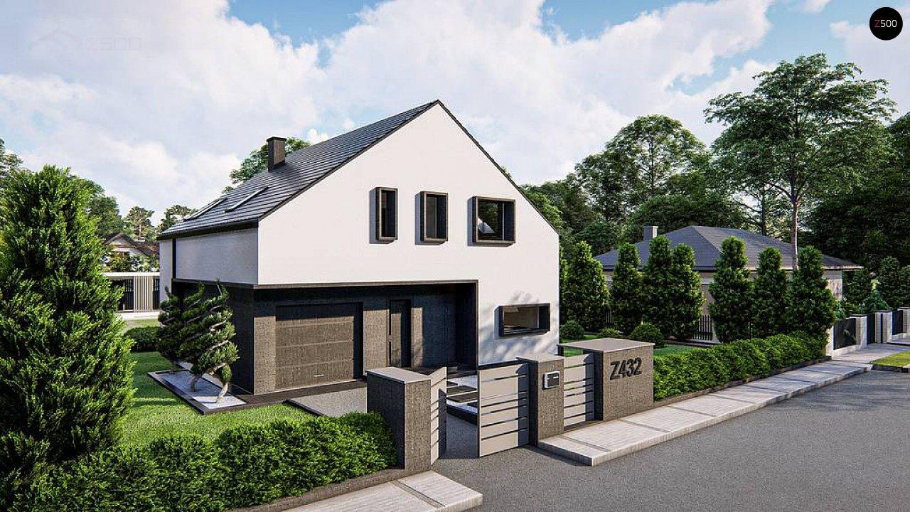 Современный дом с мансардой и двускатной крышей - фото 1
