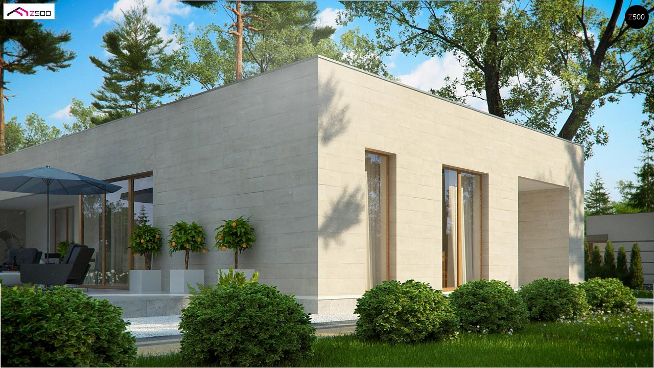Одноэтажный дом в современном стиле, с большими застекленными окнами 6