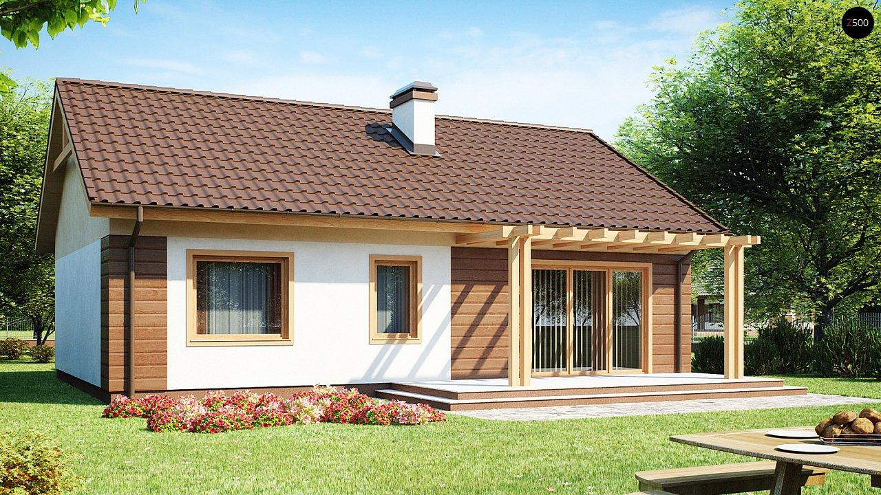 Аккуратный одноэтажный дом простой формы с двускатной крышей. 2