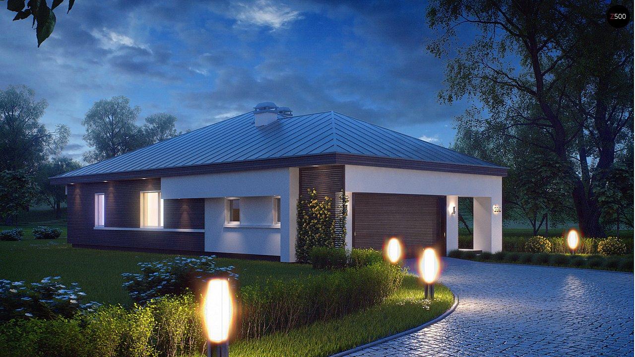 Удобный одноэтажный дом с гаражом для двух автомобилей, с большой площадью остекления в дневной зоне. 5