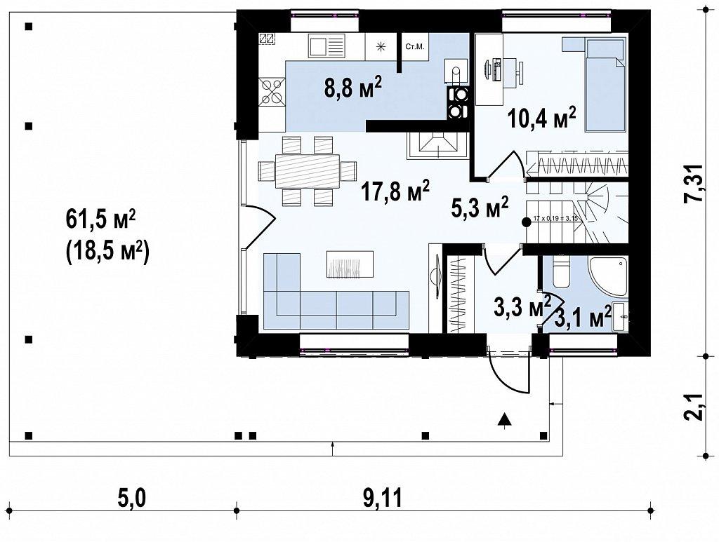 Дом с мансардным этажом и большой террасой план помещений 1